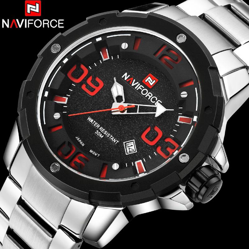 NAVIFORCE Brand Mens Quartz Watch Men 30M Waterproof Sport Watches Stainless Steel Band Creative 3D Dial