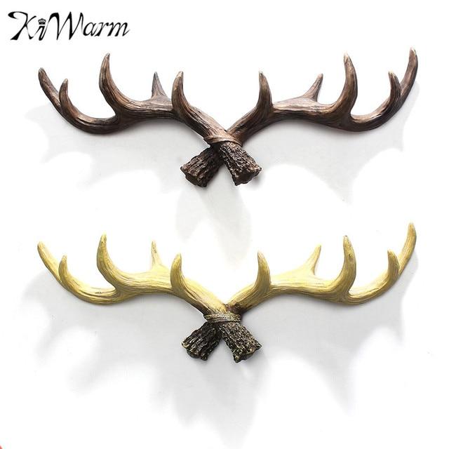 KiWarm Rustic Reindeer Stag Deer Antlers Sculptures Coat Wall Hooks ...