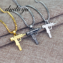 2019 New Titanium Steel Pistol Men's Hip Hop Gold Black Silver Chain Necklace Pendant Men And Women Gift Jewelry(China)