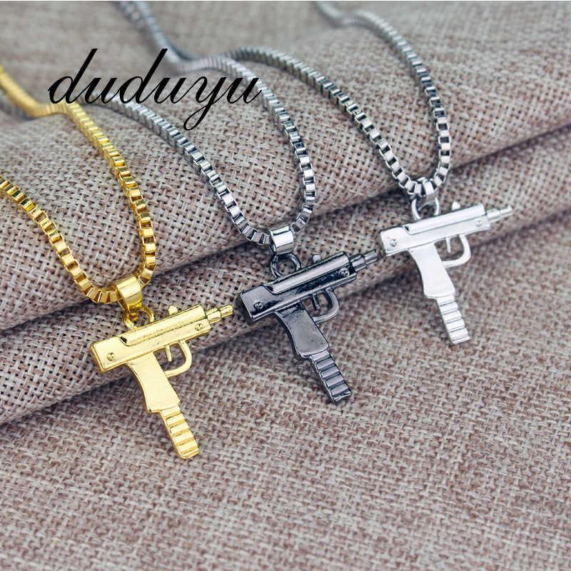 2019 New Titanium Steel Pistol Men's Hip Hop Gold Black Silver Chain Necklace Pendant Men And Women Gift Jewelry