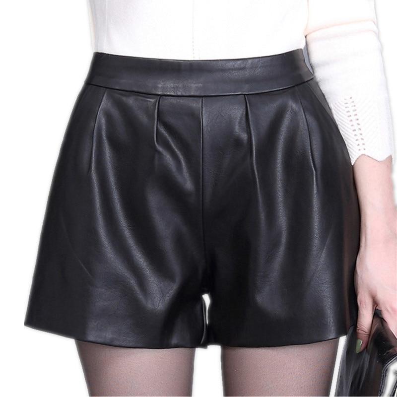 High waist Women Plus size leather shorts 2017 Autumn Fashion PU leathe Mosaic Ladies Skinny Black wide leg super shorts Girls