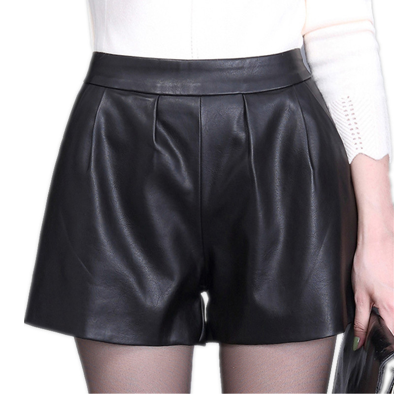 High Waist Women Plus Size Leather Shorts 2019 Spring Fashion PU Leathe Mosaic Ladies Skinny Black Wide Leg Super Shorts Girls