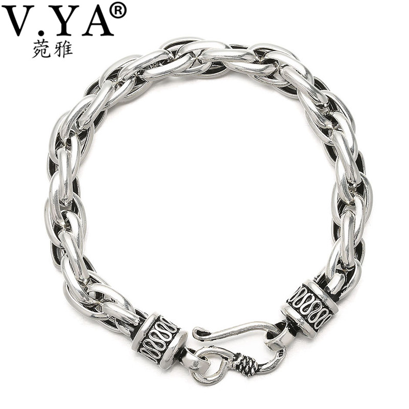 Men Jewelry 925 sterling Silver Bracelets Wholesale Genuine Man Bracelet free shipping HYB19