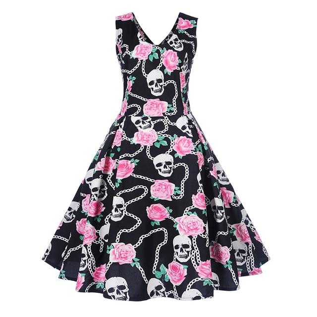 A-line Cute Floral skull Print Dress