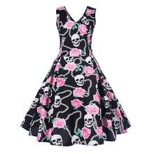 Women Gothic Dress Floral skull Print Sleeveless Vintage Dress backless A line Cute Elegant Party beach 2018 Summer Goth Dresses
