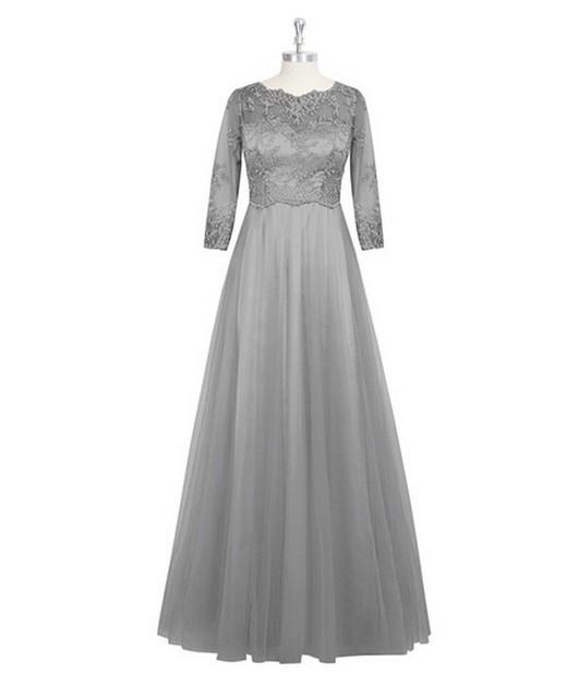 Foto Real de prata 2016 vestido de manga comprida Lace ilusão Chiffon Formal vestidos para festa de casamento 416002