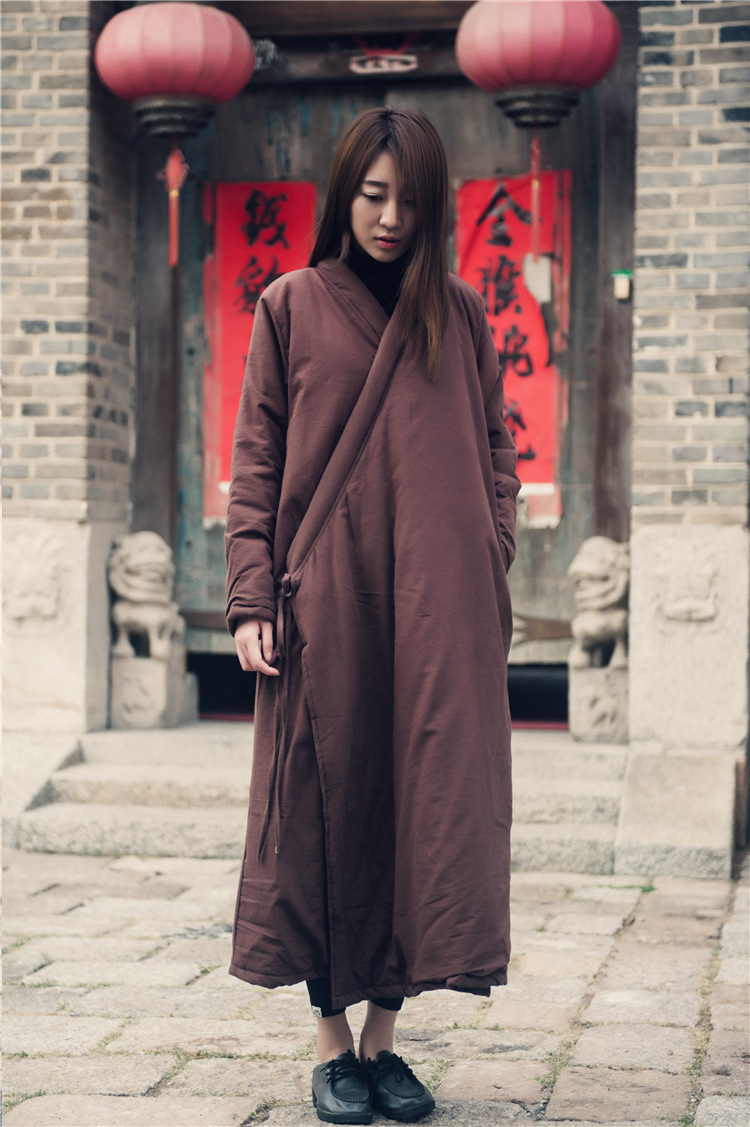2017 Winter national style thicken cotton warm down &   parkas   Women solid colors long robes coats vintage clothing plus size