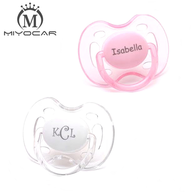 14eef82a1dfad MIYOCAR 2 pcs 0 6m personalized any name Engraved pacifiers Two monogram pacifiers  baby pacifier dummy with Engraved clip-in Pacifier from Mother   Kids on ...