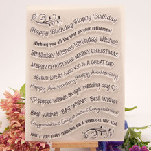 New Happy Birthday Wishes Words Transparent Clear Stamps Silicone Seal for DIY Scrapbooking Card Making Photo Album Decor Crafts