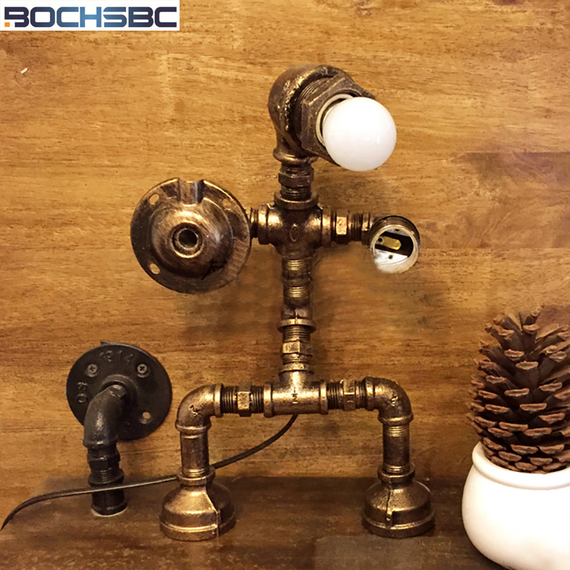 BOCHSBC Robot Led Lamps Creative Iron Water Pipe Table Lights Industrial Loft Vintage Desk Lamp for Living Room Bedroom Cafe Bar vintage loft industrail iron water pipe desk lamp personality creative table lamp for home room bar light luminaria de mesa