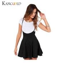 Summer Women Fashion Black Skater Skirt with Shoulder Straps Pleated Hem Braces Skirt Saia Femininos Braces skirt S-XXL Dec21