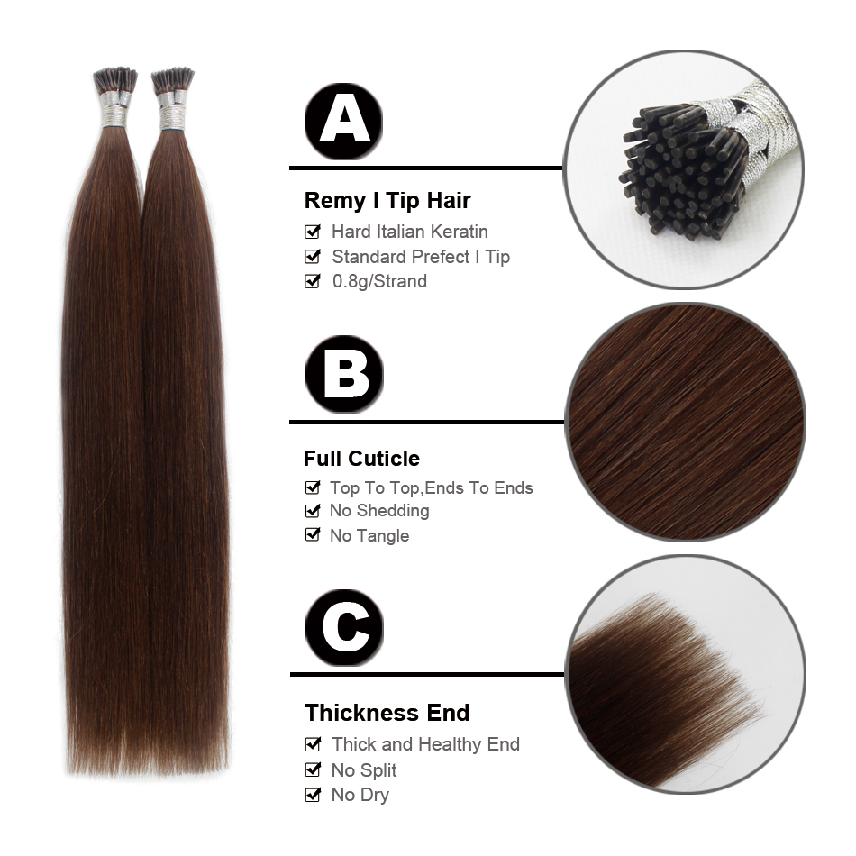 Forever Hair 08gs 18 Remy I Tip Human Hair Extension Dark Brown 4