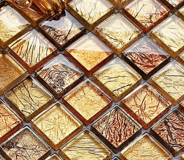 Lujo decoración hoja de oro cristales de cristal artesanía mosaico ...