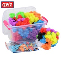 QWZ 400pcs Kids Educational Assembling 3D Puzzle Toys DIY Puff Ball Squeezed Variety Shape Creative Children