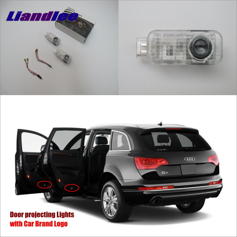 Liandlee Car Door Ghost Shadow Lights For Audi Q7 2006~2014 Courtesy Doors Lamp / Brand Logo LED Projector Welcome Light for skoda octavia led 3w welcome car door logo lights projector laser ghost 3d shadow accessories original door light replace
