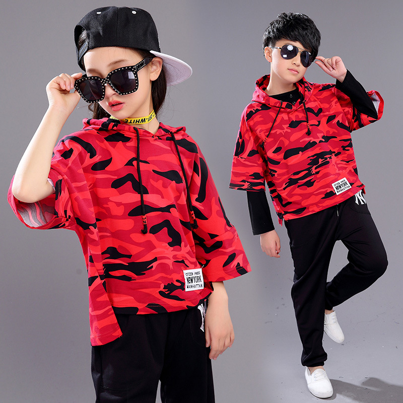 3db35ad00331 Brand Children's Sports Suits Girl Boy Jazz Hip Hop Modern Dancewear Set  Kid Dance Costume 2 3 Piece /set Red Black 3 14Years-in Clothing Sets from  Mother ...