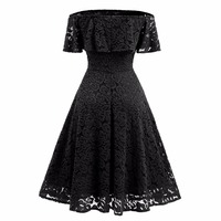 Off The Shoulder Sexy Lace Vintage Dress For Women Slash Neck Rockabilly Robe High Waist Big