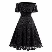 Off The Shoulder Sexy Lace Vintage Dress For Women Slash Neck Rockabilly Robe High Waist Big