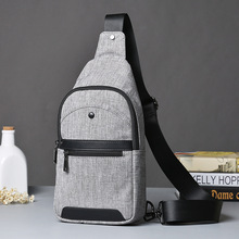 Japanese Style Men's Chest Bag Satchel Korean Tide Men Leisure Summer Canvas Bag Gray Chest Pack