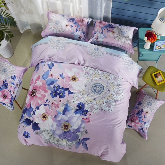 flowers mandala purple bedding sets queen king size silk feeling cotton fabric bedlinens duvet cover flat