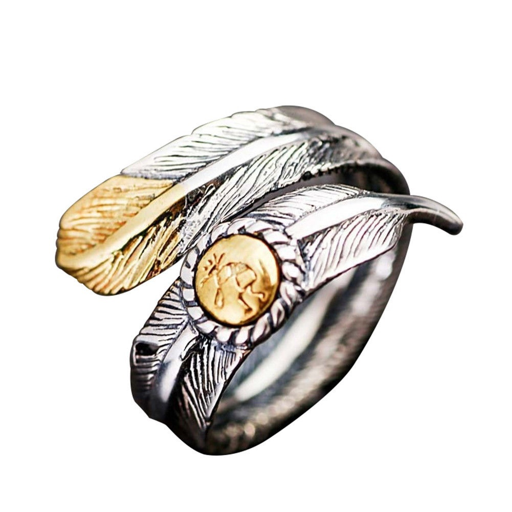 2Pcs Vintage Couple Native Pawn Indian Jewelry Signed Feather Open Band