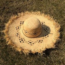 Ruhao summer hat Handmade Weave 100% Raffia Sun Hats For Women  Large Brim Straw Hat Outdoor Beach Summer Caps Chapeu Feminino