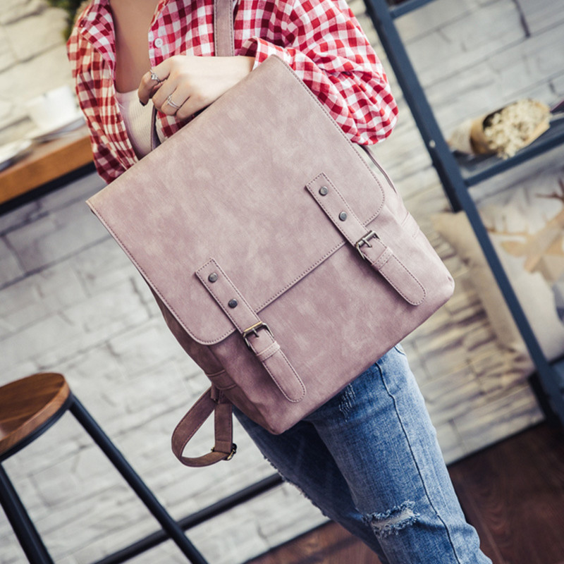 women PU leather backpack preppy style school Lady girl student school laptop bag mochila bolsas Vintage
