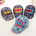 new spring summer children demin hat KISS embroidered baseball cap Benn cover boys and girls sun hat Lip prints mesh casquette