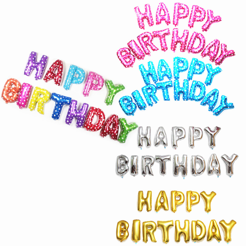 newgold - silver - Pink - Blue - multicolor letters Happy Birthday Balloons  let