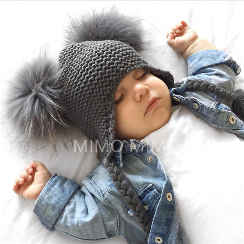 2019 Winter 16CM Big Double Natural Raccoon Pompom Hat   Skullies     Beanies   For Girls Boys Caps Real Fur Kids Knitted Caps h275