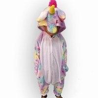 Girls Cute Colored Stars Unicorn Pajama Winter Flannel Onesies Cartoon Animal Unicorn Cosplay Custome Pyjamas Women