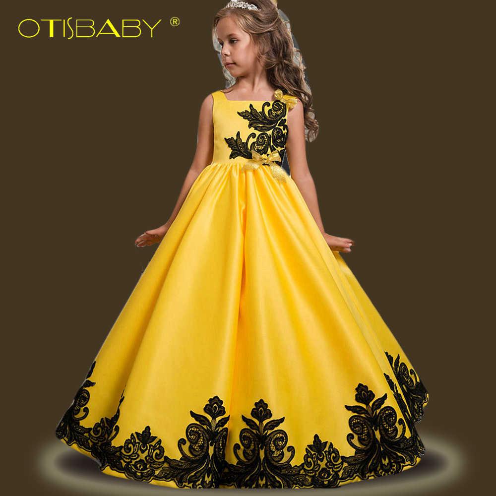 OTISBABY Mädchen Seide Harness Hochzeit Kleid für Mädchen Kinder