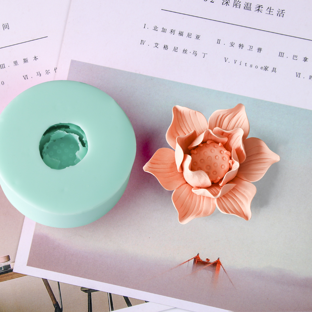 HC0028 Silica gel 3D molds Lotus silicone soap mold flowers candle mold aroma mould handmade soap making moulds resin clay molds