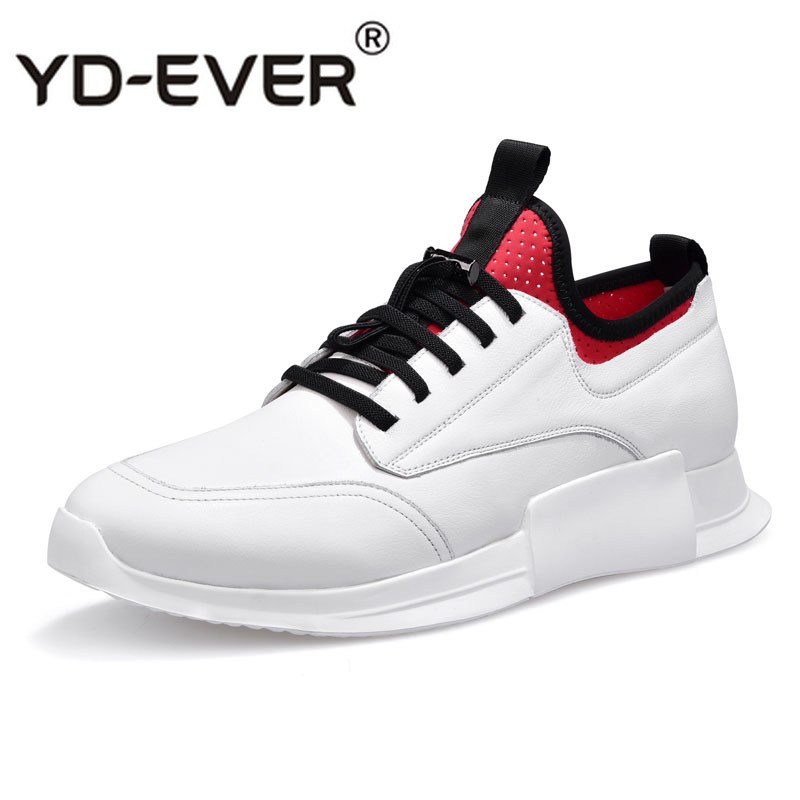 Casual Shoes Sneaker Male-Trend New White of Spring Breathable Cowhide Thick All-Match