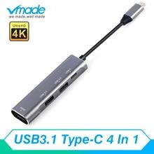 4 in1 HUB CHIA CỔNG USB 3.0 Bộ Chuyển đổi HDMI 4K Loại C với PD nhanh sạc USBC kết nối dành cho ASUS Zenbook Pro HuaWei MateBook