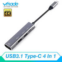 4 in1 USB HUB USB 3.0 Adapter Converter HDMI 4K Type-C with PD fast charging USBC connected For ASUS ZenBook Pro Huawei Matebook