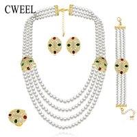CWEEL Nuziale Simulato Pearl Jewelry Set Per Le donne imitato Cristallo Collane Di Moda Vintage Party Dress Accessori