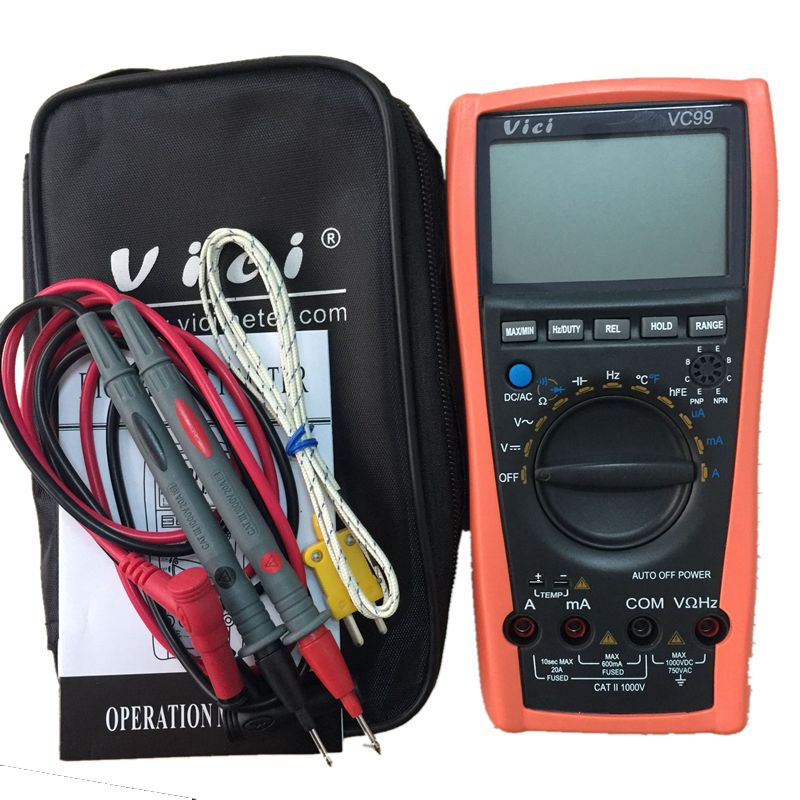 Vici VC99 3 6/7 Auto range digital multimeter DC/AC resistance capacitance meter+Alligator Probe+Thermal Couple TK cable ekind head mounted wireless headphone bluetooth headset earphone with mic support tf card radio for phone iphone xiaomi pc tv