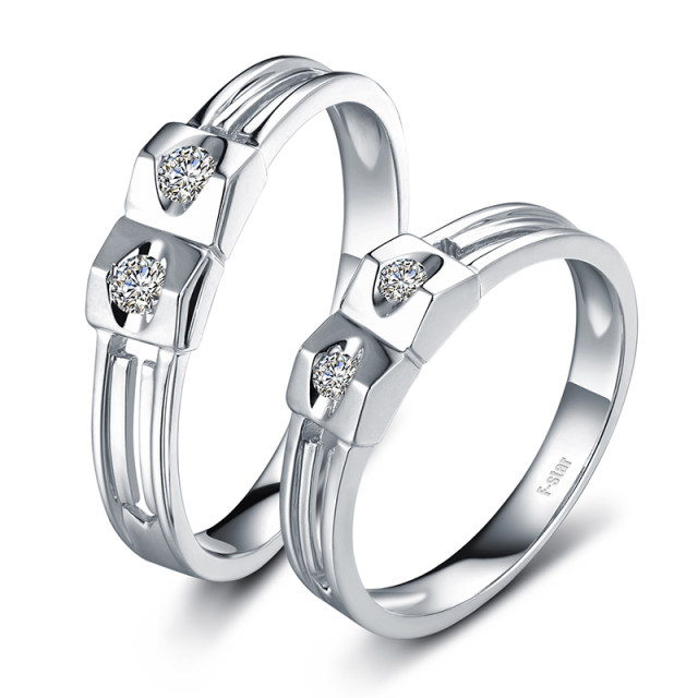 Online Shop 18ct Gold Diamond Couple Set Rings Wedding Bands