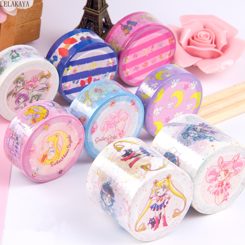 Creative Sailor Moon Anime Action Figure Printed Cartoon Kids Lovely Study Stationery Lovely Paper Tape Masking Tape DIY Toys