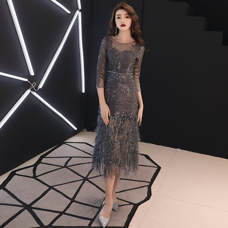 Shiny Feather Coctail Dress Vestido Soiree Drak Gray Slim Formal Dress Women Elegant Cocktail Dresses 2019 Evening Party TS535(China)