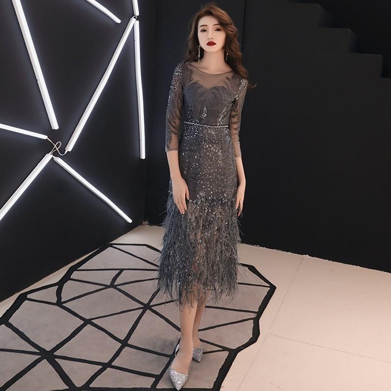 Shiny Feather Coctail Dress Vestido Soiree Drak Gray Slim Formal Dress Women Elegant Cocktail Dresses 2019 Evening Party TS535(China)