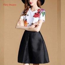 Fairy Dreams Women Fashion Clothing Short Sleeve Beading Flowers White Black T shirt 2017 New Arrival Summer Style Tee