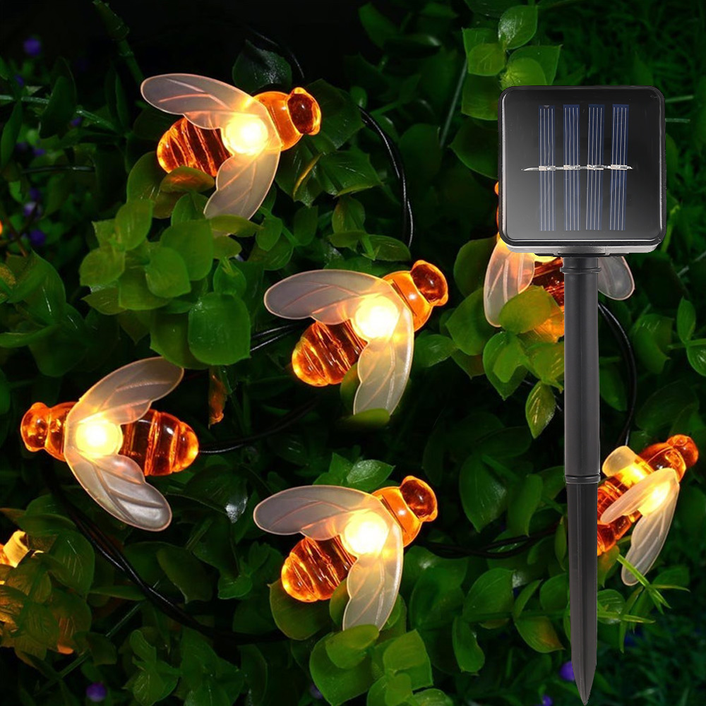 New Solar Powered Cute Honey Bee Led String Fairy Light 20leds 30leds Bee Outdoor Garden Fence Patio Christmas Garland Lights(China)