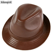 XdanqinX Genuine Leather Hat Autumn And Winter Mens Retro Fedoras Gentleman Jazz Elegant Womens Sheepskin Flat Cap