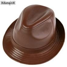 XdanqinX Genuine Leather Hat Autumn And Winter Men's Retro Fedoras Gentleman Jaz