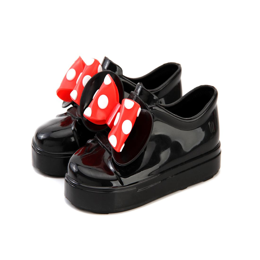 Mini Melissa Girls Shoes 2018 New Summer Wave Point 2 Layer Bow Flat Slip-on Kids Sandals Jelly Sports Baby Shoelace