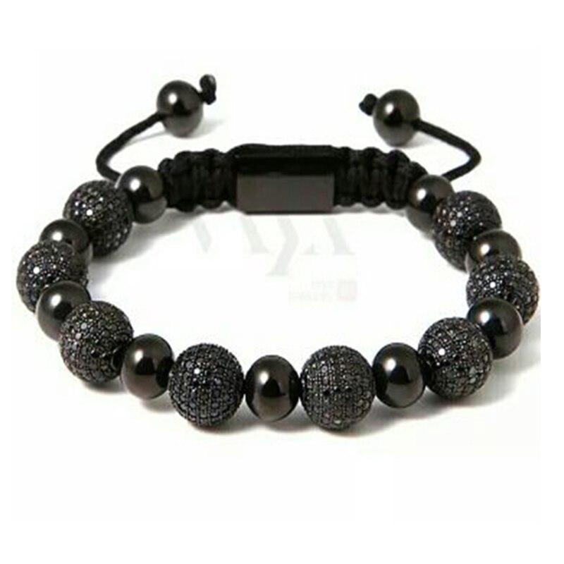 balmora new trendy shamballa bracelets high quality black beads balls handmade charm bracelet customize logo bijoux