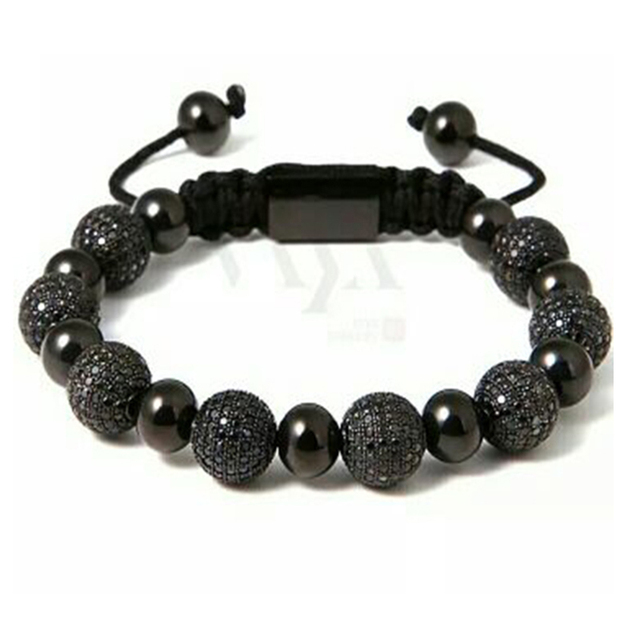 New Trendy Shamballa Bracelets High Quality Black Beads Balls Handmade Charm Bracelet Wholesale Customized Logo Bijoux NY-B-612