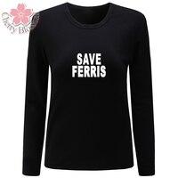 Cherry Blossom Women T Shirt 2017 Autumn Winter New Cotton T Shirt Women Save Ferris Print